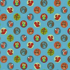 Fabric Cartoon Forest Animals in Circles on Blue Cotton 1 yard S