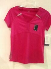 Reebok Zigtech Playdry Slim Fit Womens Short Sleeve Top Dark Pink S Small NWT