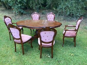 Italian rococo Oval inlaid dining table Mahogany Carved Vintage & 6 Chairs