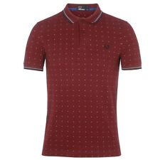 3bf3c4cbe87 Polo Fred Perry Square print Pique Bordeaux Homme