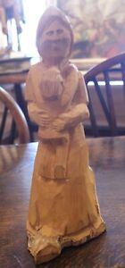 """Michael"" Miguel Salazar Taos NM Folk Art Carved Wood Woman Figure Dtd 12/1995"