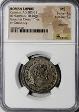 Galerius 302-303 AD Silvered Nummus Follis As Caesar NGC MS Ancient Roman Coin