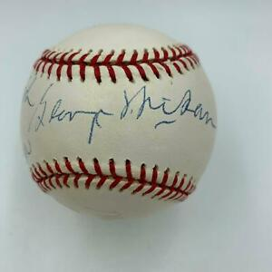 Magic Johnson Abdul Jabbar George Mikan Lakers Legends Signed Baseball JSA COA