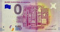 BILLET 0  EURO  MUSEE EUROPEEN SCHENGEN  BELGIQUE 2018  NUMERO 100