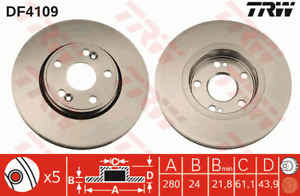 TRW Brake Rotor Pair Front DF4109S fits Renault Scenic 2.0 16V RX4
