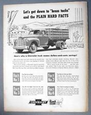 Original 1952 Chevrolet Truck Ad GET DOWN TO BRASS TACKS & PLAIN HARD FACTS