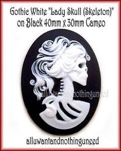 2 Goth Punk Halloween Lolita WHITE color LADY SKULL on BLACK 40mm x 30mm CAMEOS