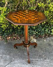 Antique French Checkers & Chess Maple Ormolu Tripodal Game Table Mid 19th Cent.