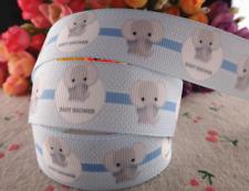"Grosgrain Baby Shower Elephant Ribbon 1"" 25mm Pink or Blue"