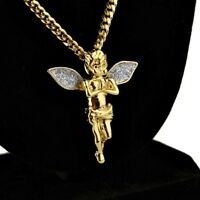 "Angel Micro Pendant Necklace Stardust Wings 14k Gold Plated 30"" Cuban Link Chain"