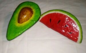 Set of 2 Vintage Papier Mache Fruits watermelon slice & Avocado
