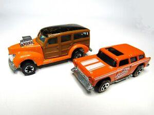 1979 Mattel Hot Wheels Cal Custom 40's Ford Woodie and 1969 Nomad Orange