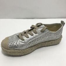 Safran Womens Sneakers Espadrilles 40/10 Silver Perforated Leather Lace Up Shoes