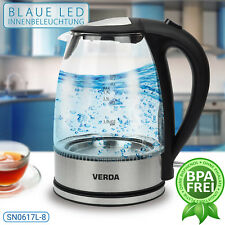 Wasserkocher Verda 1,7L 2200W Edelstahl LED Beleuchtung Glas SN0617L-8