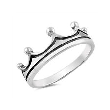 Crown Ring Band 925 Sterling Silver King Queen Crown