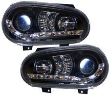 VW GOLF MK4 BLACK DRL LED DEVIL EYE R8 DESIGN PROJECTOR FRONT HEADLIGHTS