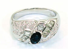 1.38 CT DIAMANT SAPHIR BLEU Bague 18K or blanc