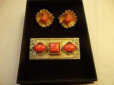 Vintage LISNER signed Brooch / Pin Gold Flower & Orange Glass Clip Earrings BOX