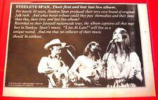 "Steeleye Span Live At Last Vintage ORIGINAL 1978 Press/Magazine ADVERT 13""x 8.5"""