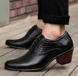 Men Casual Patent Leather High Cuban Heel Lace Up Dress Formal Oxford Shoes Size