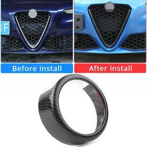 For Alfa Romeo Giulia 17-20 Carbon Fiber Style Front Grille Logo Emblem Ring US