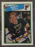 BRETT HULL ~ Signed St. Louis Blues Hall of Fame Autograph Card