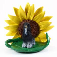 Afghan Hound Sunflower Figurine Black