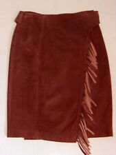 CAMBRIDGE Dry Goods Sm Fringe Leather Skirt Western Cowgirl Lined Wrap-Around