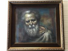 """Original Pastel Painting Socrates Portrait Signed by Don, Framed, 22"""" x 18 1/2"""""""
