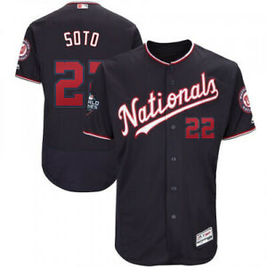 Juan Soto #22 Washington Nationals Majestic Navy w Nationals World Series Jersey
