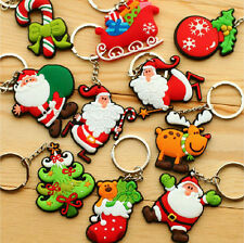 Mixed Christmas Cute Cartoon Soft Rubber Keychain Keyring Child Gift Wholesale