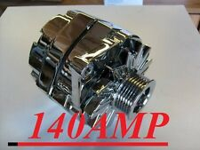 NEW GM 140 HIGH AMP CHROME 1-WIRE ALTERNATOR WITH BILLET FAN AND 6-GROOVE PULLEY
