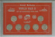 La SECONDA GUERRA MONDIALE ANNI sixpences della seconda guerra mondiale II 1939-1945 sei pence 6d MONETA Set Regalo