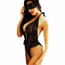 Sexy Sheer Floral Trim V Neck Open Back Lingerie Teddy Bodysuit Romper Underwear