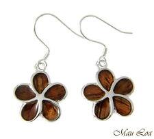 Koa Wood Hawaiian Plumeria Flower Rhodium Silver Plated Brass Hook Wire Earrings