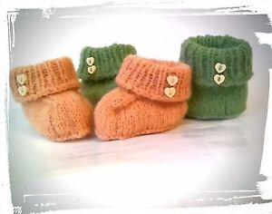 Seamless Baby Booties Boots Shoes Hand knit Wool socks Cozy shoes