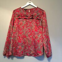 Women's Talbots Paisley Print Ruffled Blouse Medium Pink Magenta Long Sleeve Top
