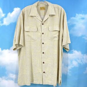 Tommy Bahama 100% Silk Short Sleeve Button Up Yellow Shirt Mens Large