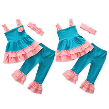 Kids Girls Strappy Sling Vest Tops + Frilly Pants + Headband Clothes Outfit Sets