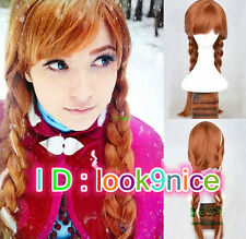 Frozen Princess Anna Cosplay Wig Long Brown Mix Straight Full Hair Wigs Adults'