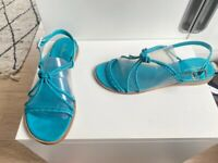 NWOT COLE HAAN TURQUOISE BLUE BRAIDED LEATHER SANDALS - SMALL WEDGE - SIZE 10