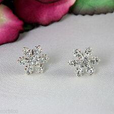 E9 Small Silver Tone Rhinestone Crystal Snowflake Stud Earrings
