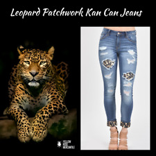 NWT KanCan  Leopard Patchwork Distressed Cuffed Jeans Sizes 0-15