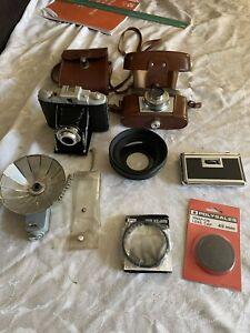 Job lot old cameras Kodak 66 Model II 120 Film Folding AGFA PAL BOUNCE LENS CAP