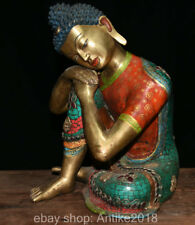 Old Tibet Bronze Turquoise Sleeping Sakyamuni Buddha 8 Auspicious Robe Statue