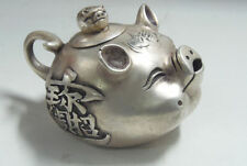 Decorated Old Handwork tibet silver collectable old style lifelike pig teapot