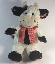 Animal Adventure Black White Cow Red Gingham Bow Plush Soft Toy 12""