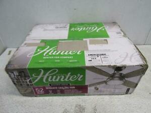 "HUNTER 59439 Wingate Indoor Ceiling Fan, LED Light & Remote, 52"", Brushed Nickel"