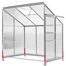 DEUBA Lean to Greenhouse 6x4ft Polycarbonate Garden Foundation Aluminium New