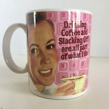 Novelty Coffee/Tea Mug - Drinking Coffee - Slacking Off - Pink - Woman Drinking